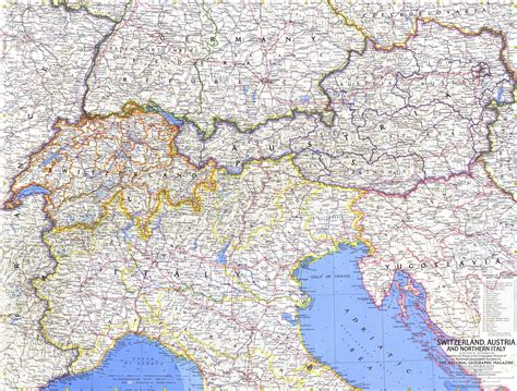 northern italy map switzerland austria and northern italy map 1965 maps