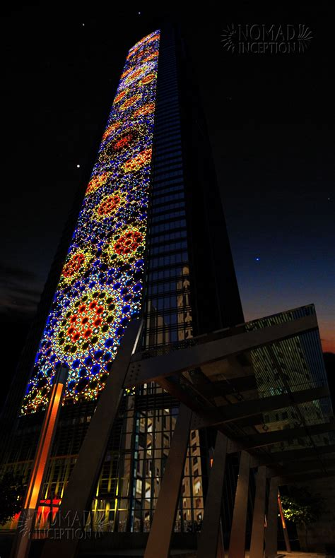 islamic pattern facade lighting effects depicting islamic patterns on tower