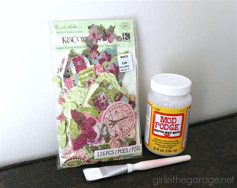 Decoupage Supplies - decoupaged bottles for plus a coupon and a
