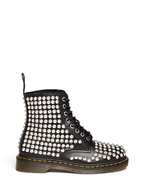 dr martens spike studded boots in black lyst