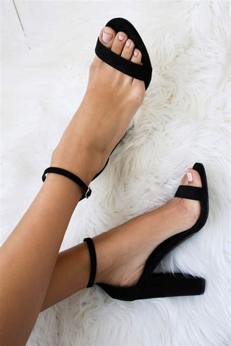 Black Simple Heels 5cm black suede heels ankle heels single sole heels