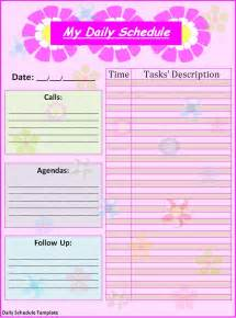 free daily schedule template daily schedule template best word templates