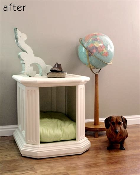 table dog bed turn an awkward side table into a dual purpose dog bed