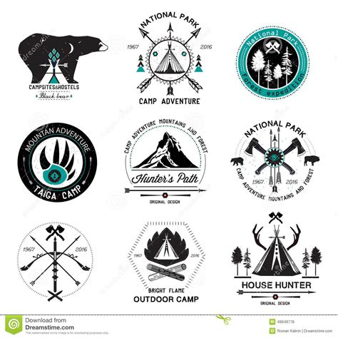 design logo label set of hunting logo labels and design elements 2 stock