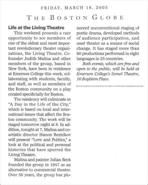 Emerson College Letter Of Recommendation the living theatre workshops emerson college