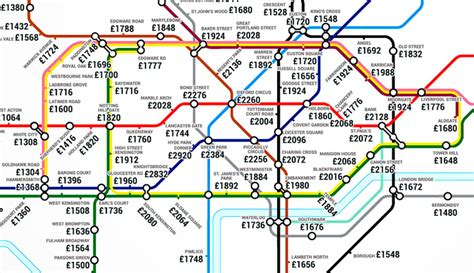 renting in london unaffordable as average month rent this tube map shows the average rent costs near every
