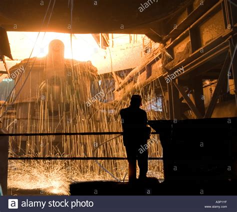 steel mill workers stock photos steel mill workers stock images alamy steel mill worker electric arc furnace steel recycling stock photo royalty free image