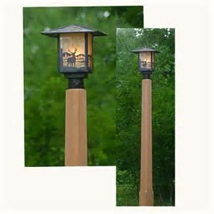 rustic outdoor lighting with cedar l post flickr