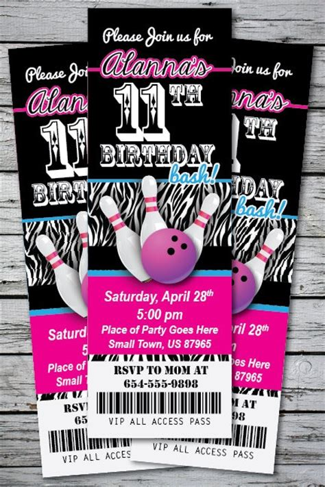 printable bowling tickets details about bowling zebra print birthday party
