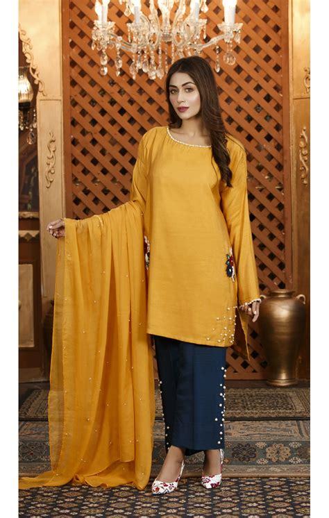 exclusive mustard  blue color dress sds exclusive