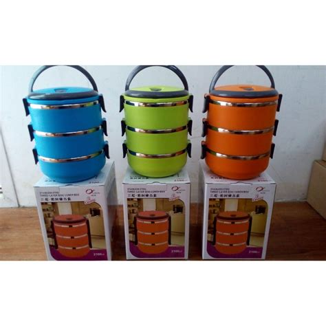 Rantang Stainless Warna 3 Susun Lunch Box rantang 3 susun warna stainless lunch box simpan