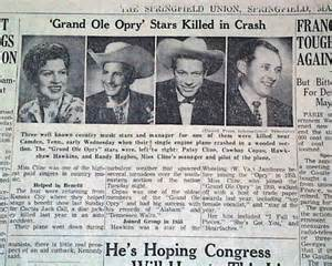 patsy cline death in 1963 rarenewspapers com