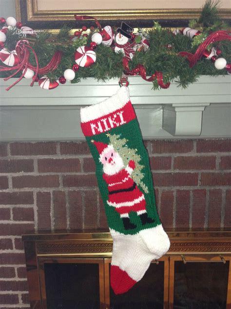 hand knit personalized christmas stockings santa vintage santa  tree sequins ebay