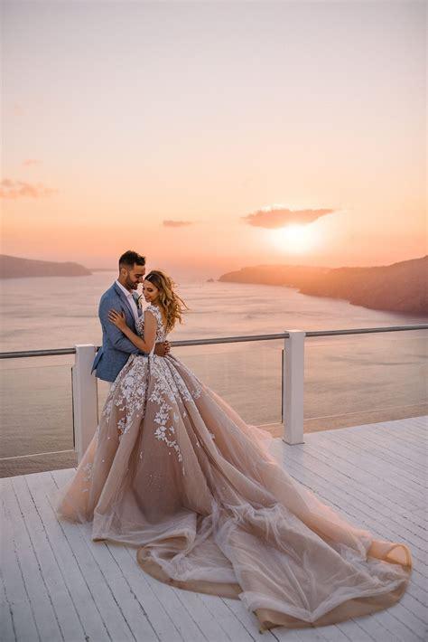 white wedding set   santorini sunset