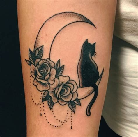 cat tattoo with moon tattoo tap the link now luxury cat gear treat