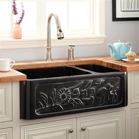 70 30 farmhouse sink 33 quot floral 70 30 offset bowl polished granite
