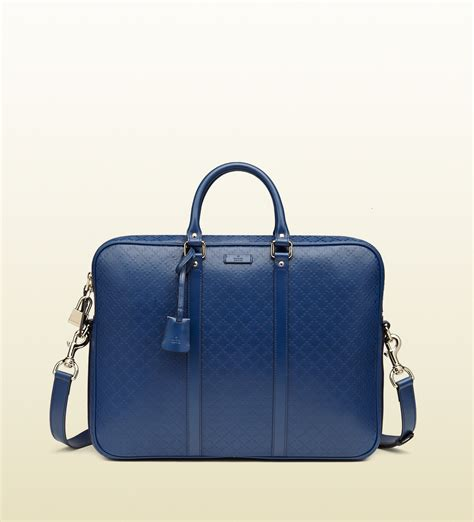 Gucci Ns Leather Blue gucci bright diamante leather briefcase in blue for lyst