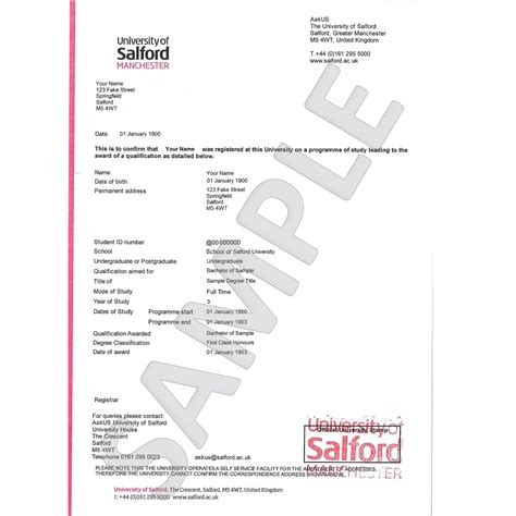 Student Confirmation Letter Nottingham Academic Confirmation Letter Of Salford