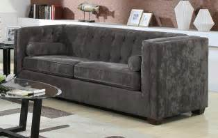 modern contemporary charcoal grey velvet sofa lowest price