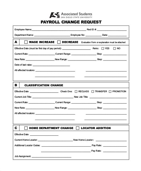 payroll change form template free payroll change form payroll status change form template image collections