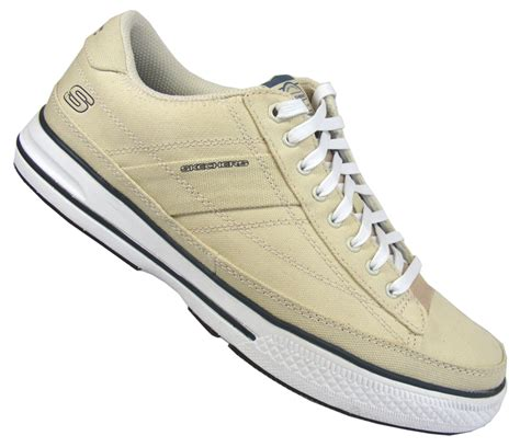 mens skechers casual canvas fabric trainers