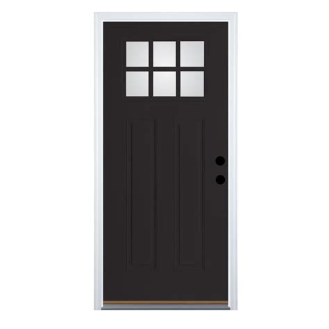 Pre Hung Exterior Doors Shop Therma Tru Benchmark Doors Craftsman Insulating Craftsman 6 Lite Left Inswing
