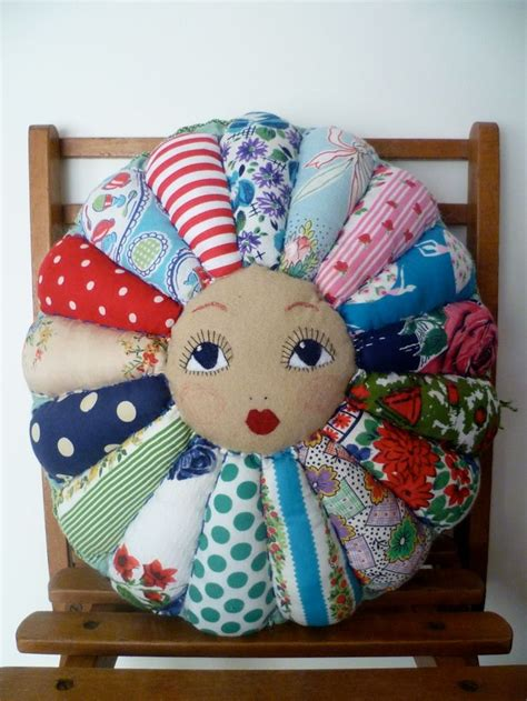 Patchwork Doll - autumn sale flower doll vintage cottons patchwork