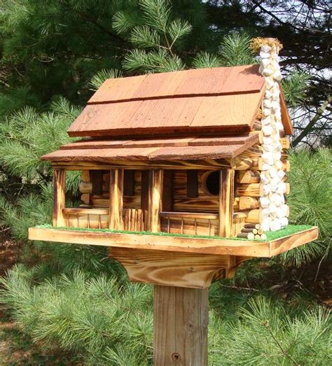 Amish Crafted Log Cabin Bird House With Stone Rock Chimney Cabin Birdhouse Plans