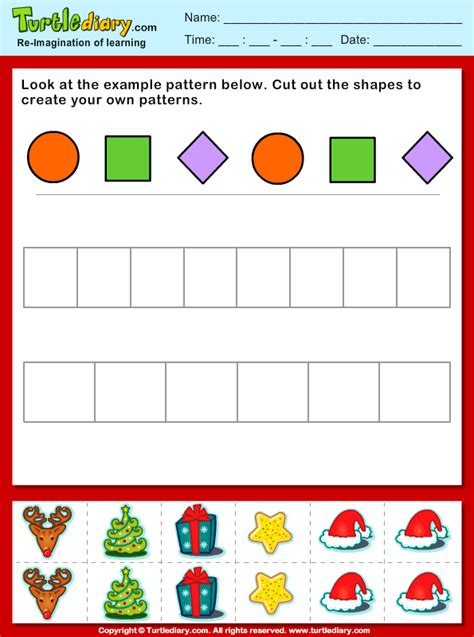christmas pattern games christmas create your own pattern worksheet turtle diary