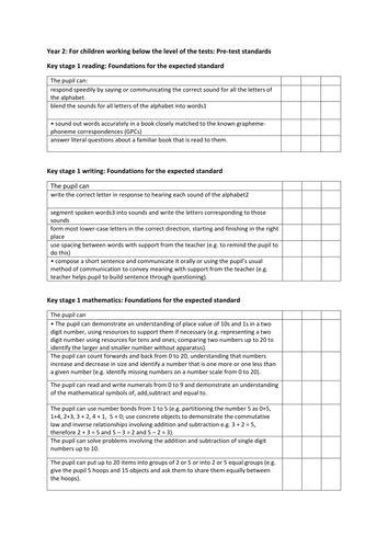 pre test interim assessment framework tick sheets for ks1
