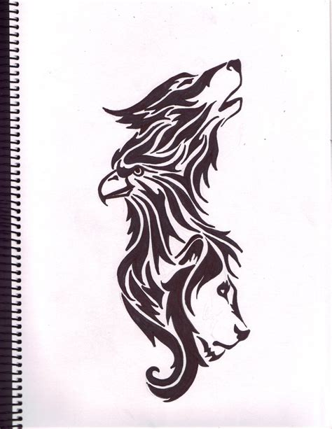Wolf Eagle Lion Tattoo By Moehawk37 On Deviantart Eagle And Wolf Tattoos
