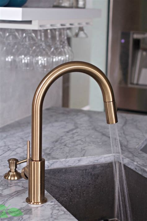 Gray Painted Kitchen Cabinets delta gold trinsic kitchen faucet chic and super