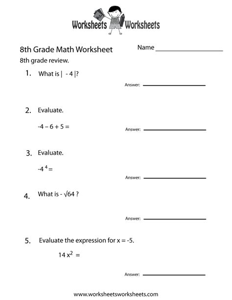 8th Grade Math Review Worksheets by Free Printable 8th Grade Math Review Worksheet