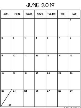 portraitvertical monthly calendar printable