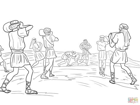 Joshua 7 Coloring Pages by Joshua Soldiers Putting 12 Stones Coloring Page Free