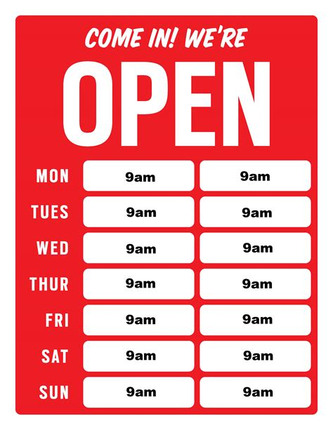 4 Best Images Of Business Hour Signs Printable Free Printable Business Hours Signs Business Hours Template