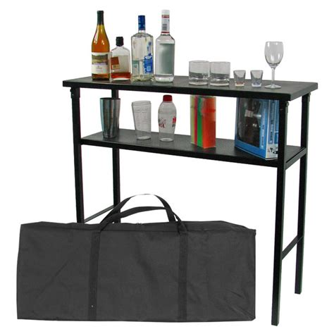 Portable Bar Table Trademark Global 174 Deluxe Metal Portable Bar Table With Carrying 189297 Patio Furniture