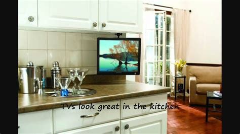 small kitchen tv drop down tv in kitchen nexus 21 arrowmounts flip down ceiling or under cabinet mount for