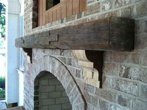 Reclaimed Fireplace Mantels by Fireplace With Reclaimed Wood Mantel And Corbels