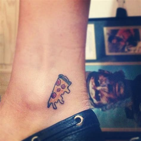 small pizza tattoo 24 tattoos on ankle
