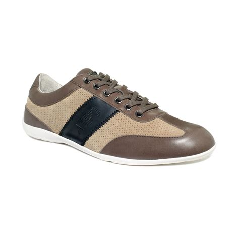 armani shoes armani dress casual sneakers in brown for lyst