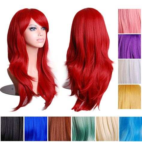 Wig 70 Cm Tsn 14 colors 70cm wavy wig anime synthetic lace front wigs brown wig in