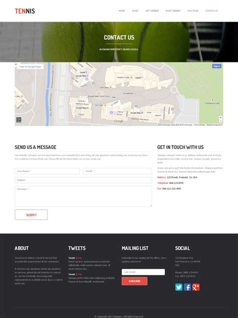 Tennis Academy Website Template Tennis Website Templates Dreamtemplate Free Website Templates For Academy