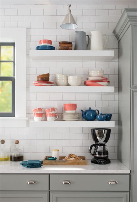 Kitchen Floating Shelves Height White Flat Front Kitchen Cabinets With Gray Quartz