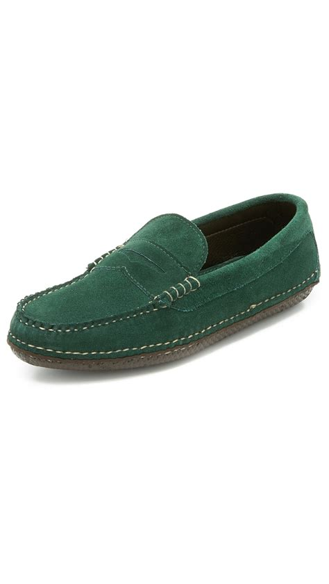 quoddy loafers quoddy suede loafers in green for lyst