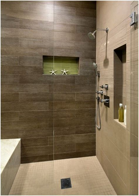 brown tile bathroom shower with dark brown tile and light floor google