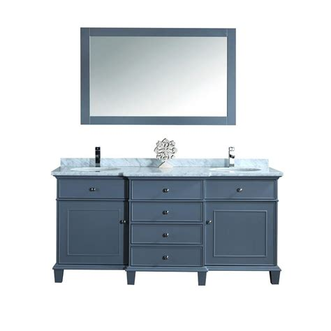 gray mirrored vanity with statuary marble top stufurhome cadence 60 in w x 22 in d vanity in grey with