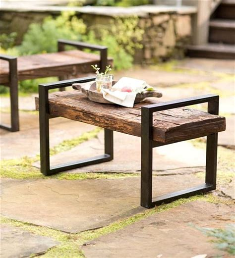 wood and iron garden bench reclaimed wood and iron outdoor bench earth friendly
