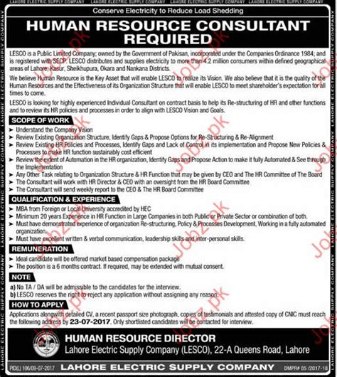 Government For Mba In Hr by Hr Comsultant In Lahore Electricity Supply Company