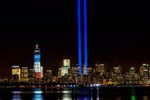 9 11 memorial lights wtc 1 new york city color